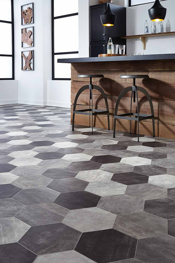 Hexagon shaped colorful tile floor